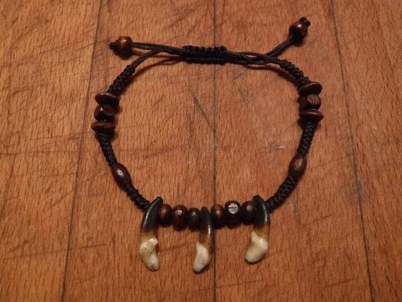 Wolf Tooth Bracelet Wolf Teeth Bracelet Wolf Bracelet Tribal Wolf Tooth Bracelet Adjustable African Native American Tribal Spiritual Healing
