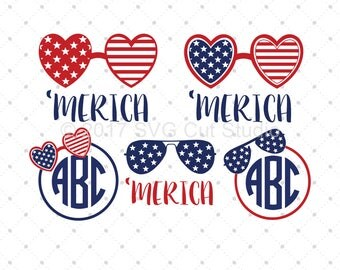 4th of July svg, 'Merica svg, America SVG, Patriotic Monogram Frames svg, Independence Day svg files for Cricut and Silhouette, svg file