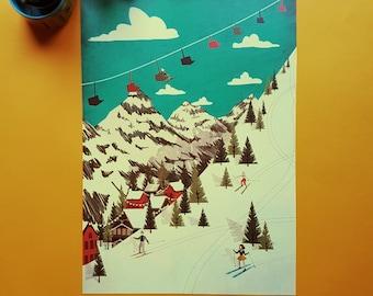 Mountain Skiing 1950s Illustration Print A3