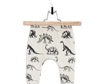 Organic baby pants // Organic baby leggings in Cream Dinosaur