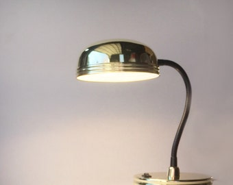 Vintage Brass Desk Lamp • 1990's Goose Neck Task Lighting •