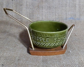 Retro WYNCRAFT Lord Nelson Pottery Apple Sauce Dish in Teak and Metal Stand, Made in England 1970's