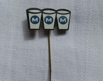 1960's Blue, White and Black Initial M Dutch Advertising Metal Stick Pin / Lapel Badge