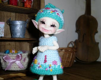 Crochet and embroidered dress and hat for Realpuki