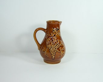 Brown ceramic pitcher Bornier Belgium wine carafe with grapes pattern vintage  Made in France