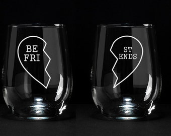 Best Friend Gift, Best Friend Wine Glasses, Engraved Wine Glass, Best Friend, Gift for Best Friend, Sister Gift, Friend Gift, Set of 2