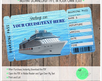 Boarding pass etsy printable cruise vacation surprise ticket boarding pass customizable template digital pdf file you pronofoot35fo Images