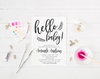 Hello Baby Invitation Baby Shower Invitation Black and White Modern Invitation Printable Baby Shower Invitation Calligraphy Invitation