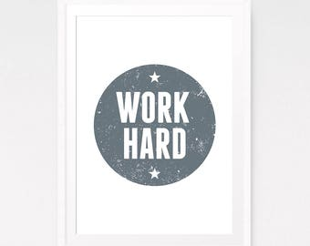 Work hard print, Typography art, Printable print, Work hard quote, Typography Sign, Motivation Wall, Motivational poster, Typography nurseru