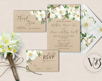 Magnolia Wedding Suite Invitation RSVP Thank You Southern Country Botanical Floral Digital Download Professional Printing Flower Greenery