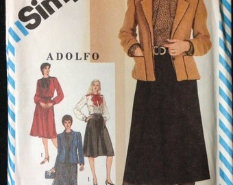 Simplicity 5642 - Adolfo Two Piece Dress, Blouse and Skirt, and Lined Jacket - Size 12