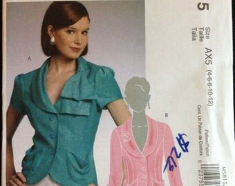 McCalls M5815 - Long or Short Sleeved Jacket with Princess Seams and Shawl Collar Variations - Size 4 6 8 10 12 -