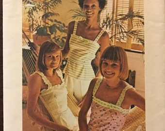 Butterick 3738 - 1970s Back Button Camisole with Lace Strap Options - Size 8 Bust 31.5