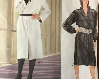 Vogue 1284 - 1980s American Designer Adri Button Front Dress with Convertible Collar, Shoulder Pads, and Yoke Sheilds - Size 12 Bust 34