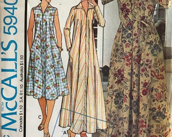 McCalls 5940 - 1970s Tent Style House Dress or Robe with Pointed Collar - Size Small