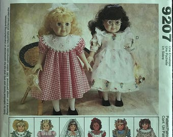 "McCalls 9207 - Dolls Outfit Collection with Victorian Edwardian, Prarie, and Wedding Styles - Size 18"" Doll"