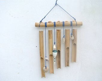 Bamboo Wind Chime, Garden Decoration, Shell Wind Chime, Patio Decor, Wall Hanging