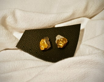 Gold Dipped Raw Quartz Studs
