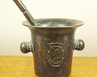 Vintage small metal Italian pestle and mortar apothecary style