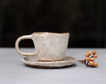 ELEMENTS - Espresso Cup with Saucer - Hand Built - Stoneware Clay