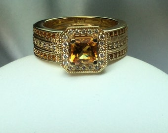 Citrine and Diamond Ring 14 kt Yellow Gold