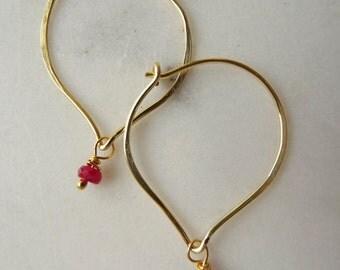 Ruby hoop earrings - red - Ruby earrings - genuine Ruby earrings - classy earrings - July birthstone -  Ruby anniversary - dainty earrings