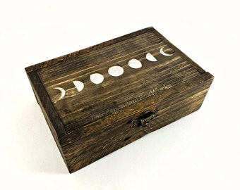 Built on Order - Reclaimed Wood Box, Lunar Cycle Box, Moon Phase Box, Divided Storage Box with 8 Sections, Boho Jewelry Box, Rustic Gift Box