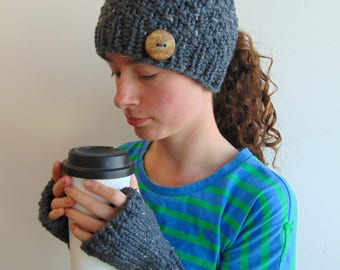 Gray Ponytail Hat and Fingerless Gloves Set - Beanie with Ponytail Hole - Gift for Her -  Made in Alaska - Chunky Knit Gift Set - Grey
