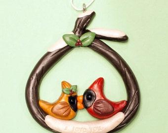 Cardinal Love Birds Ornament handmade sculpture
