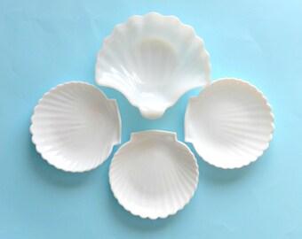 Vintage lot of 4 milk glass shells white glass shell dish shell plates wedding decor beach sea boho cottage chic candy dish appetizer plate