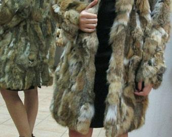 NEW!Beautiful Natural Real Hooded Rabbit Fur Coat in Animal print colors!!!