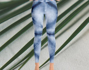 Yoga and Fashion Leggings with blue tie dye/batik print. Made out of polyester, perfect for workouts.