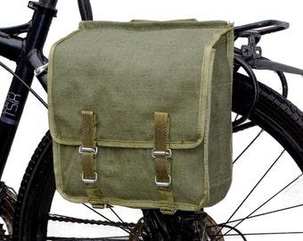 Army Surplus Showerproof Canvas Pannier Bag 1980s retro quality vintage green olive large bike spacious waterproof rainproof NOS