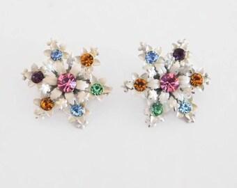 Two (2) Vintage White Enamel Scatter Pins With Fruit Salad Rhinestones, Riveted Design - Vintage Scatter Pins, Enamel Jewelry