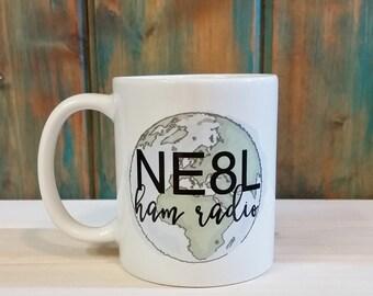 Ham radio mug, amateur radio, ham radio gift, coffee mug, unique mug, custom mug, personalized mug