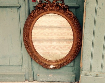 Sublime large antique French gilt plaster frame gesso mirror with original Mercury glass - swags - ribbons - roses