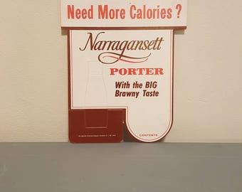 Rare Narragansett porter beer pop up cardboard sign