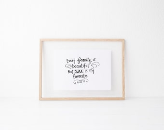 Hand lettered home wall art, print, typography gift, holiday present, bedroom home decor quote, card, mom sister friend dad brother family