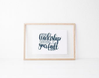 Leadership Hand lettered art, print, typography gift, holiday present, bedroom home decor quote, card, mom sister friend dad brother