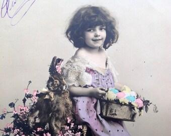 Vintage Easter Postcard // Edwardian child with Easter bunny & Easter eggs // Original RPPC Easter postcard