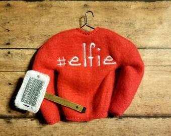 elfie elf sweater with elfie (selfie) stick, Christmas elf shirt, Christmas elf clothes