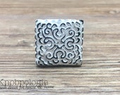 """1.25"""" Square or Diamond White """"Lace"""" Inspired Distressed Metal Pewter Knob - Rustic Shabby Chic Painted Drawer Pull"""
