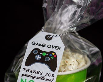 Video Game Favor Tags with Black Controller - Printable Video Game Party Favor Tags by Printable Studio