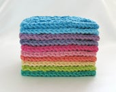 Large Face Scrubbies, 4 inch Square, Cotton Knit Washcloths, Set of 10 Bright Rainbow Colors (RESERVED FOR CHERI)