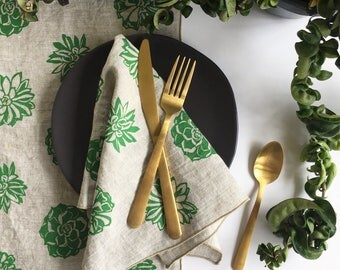 Succulent Linen Napkins - Use a Napkin or Placemat, Screen Printed in Green, Set of 2, 4, or 8, Botanical Napkins, Cloth Napkins