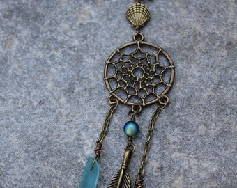Boho Beach Dream catcher Necklace - Sea Glass - Bronze Boho Necklace - Mermaid Jewelry