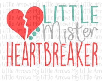 Little mister heartbreaker SVG, DXF, EPS, png Files for Cutting Machines Cameo Cricut - boy valentine svg cut - boy svg cut - valentine svg