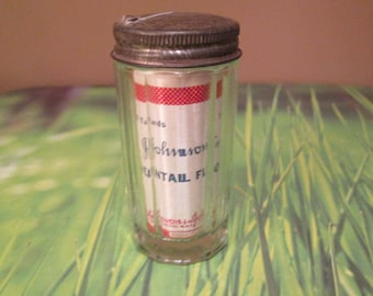 Dental Floss - Glass Container/Metal Top - Some Floss Remaining - Great Decor Item - Good Vintage Condition - with Free Shipping