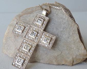 Sterling Silver Big Cross Necklace Modern Cubic Zircon Cross Pendant, Vintage Modern Religious Jewelry, 925 Dainty Cross with Cubic Zirconia