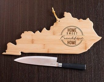 Kentucky State Shaped Cutting Board, Engraved Kentucky Shaped Cutting Board